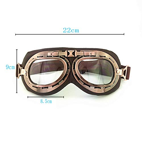 (YLLLDDD Motorcycle Household Goggles Outdoor Riding Goggles Windproof Anti-Sleep Fog Glasses Bronze Real Leather)