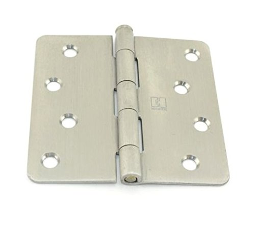 Hager RC1541 4x4in 1/4in Radius Hinge-Full Mortise-Residential Weight-Plain Bearing-Stainless Steel