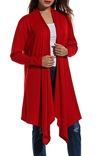 Zeagoo Women's Long Sleeve Draped Open Front Fall Winter Cardigan Sweater (XL, Date Red)