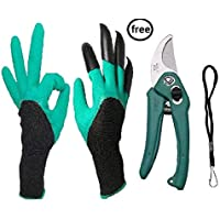 Alfa Mart Combo Garden Gloves with Claws, Great for Digging Weeding Seeding poking,Quick & Easy to Dig & Plant. with Free Garden Cutter,Flower,Leaf,Fruit Cutter Scissor