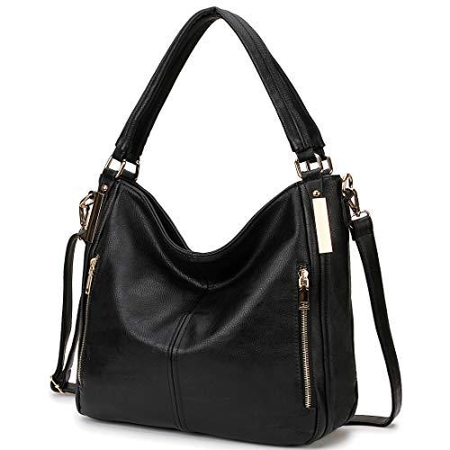 Womens Handbags RAVUO Designer Hobo Shoulder Bags Faux Leather Tote Fashion Handbags PursewithDetachableShoulderStrap Black ()