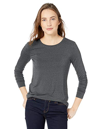 Amazon Brand - Daily Ritual Women's Jersey Long-Sleeve Crew Neck Shirt, Charcoal Heather Grey, Medium