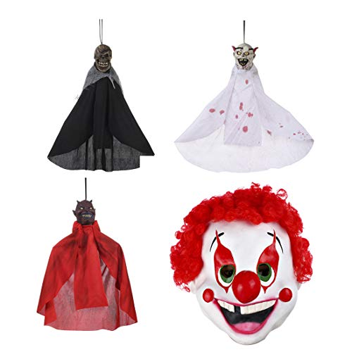 (3PCS Haunted House Decorations and 1 Piece Halloween Clown Mask for Boys or)