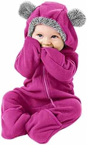 Christmas Deals! Newborn Baby Winter Warm Snowsuit Fleece Cartoon Hoodie Romper Jumpsuit Mitten & Bootie Cuffs Outfits