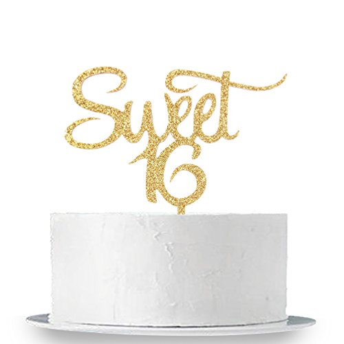 INNORU Sweet 16 Cake Topper - Gold Sweet Sixteen Cake Topper - Happy 16th Birthday Party Decorations Supplies