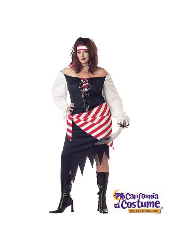 Black Beauty Pirate Adult Womens Costumes (California Costumes Women's Plus-Size Ruby The Pirate Beauty Plus, White/Black/Red, 1X)
