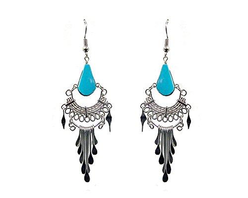 Teardrop Stone Silver Tail Dangle Earrings (Turquoise)