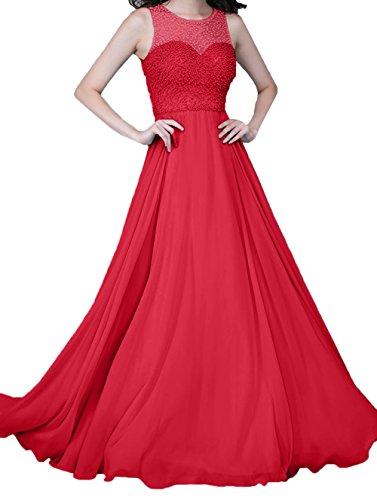 Abendkleider A Lang Perlen Ballkleider Zahlreichen mit Festlichkleider Charmant Rot Linie Damen Chiffon q5wxBtY