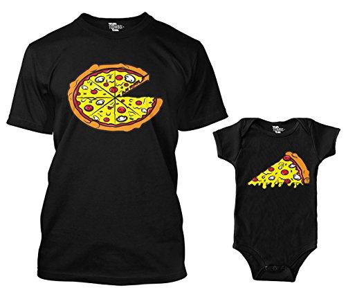 Pizza Pie/Slice Matching Bodysuit & Men's T-Shirt (Black/Black, Large/24 Months)
