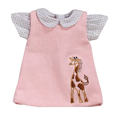 15 Inch Baby Doll Pink Jumper by Sophia's with Giraffe Detail & White Polka Dot Blouse, Fits 15 Inch American Girl Bitty Baby Dolls & More! Darling Baby Doll Clothing of Giraffe Jumper & Blouse