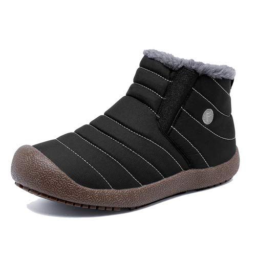 Enly Slip on Snow Boots Men Women,Anti-Slip Lightweight Ankle Bootie Fully Fur by Enly