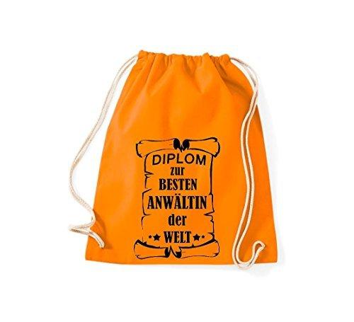 Shirtstown Bolsa de gimnasio Diploma para la besten Anwältin der Welt Naranja