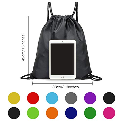 CHEPULA 12Pcs Drawstring Backpack Bags Polyester Cinch Sacks String Portable Nylon Backpack Multicolor for School,Travel,Gym,Yoga,Outdoor Sports & Storage