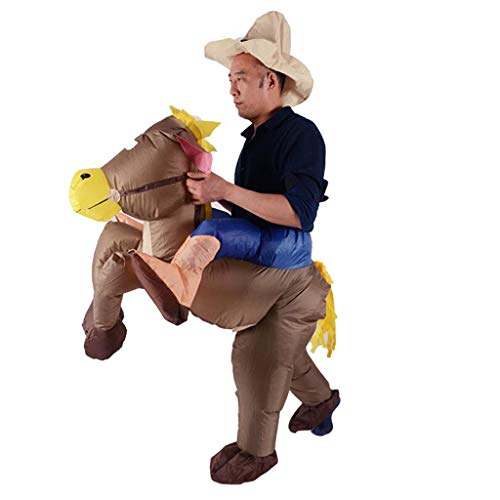 (SM SunniMix Novelty Inflatable Donkey Costume Rider Outfit with Hat Fancy Dress Halloween Cosplay Prop)