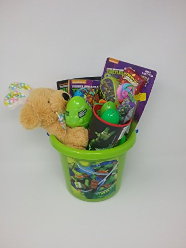 Happy Easter Basket Jumbo Kids Toddlers Gift Children Pre Made Eggs Goodies Candy Baskets Brown Bunny Sticker Activity Set Coloring Activity Book Ball Whistle Cup Pinball Game Gliders TMNT