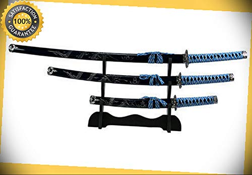 3 pcs Japanese Samurai Katana Dragon Sword Set with Blue Scabbard with Stand perfect for cosplay outdoor camping