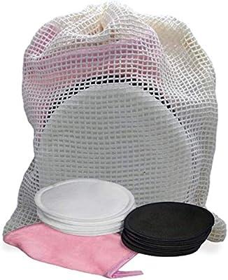 Algodón desmaquillante facial y ojos de fibra de bambú y algodón – 10 piezas – lavable a máquina y reutilizable con la bolsa de lavado – 1 mini guante desmaquillante gratis: Amazon.es: Belleza
