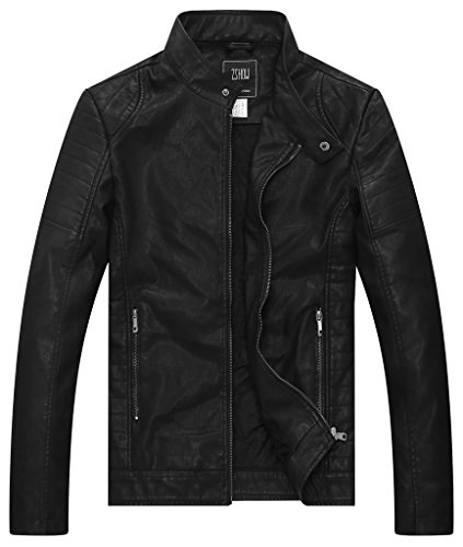 Black Biker Jacket Mens - 7