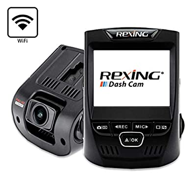 "Rexing V1 Wi-Fi Car Dash Cam 2.4"" LCD FHD 1080p 170° Wide Angle Dashboard Camera Recorder with G-Sensor, WDR, Loop Recording, Supercapacitor, Mobile App"