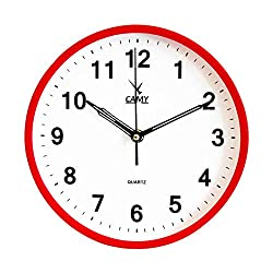 CAMY Black Wall Clock - 9 Inch Quality Quartz AA Battery Operated Round Easy to Read Wall Clock for Home/Office/Kitchen/Living Room/Classroom (RED, 9 INCH)