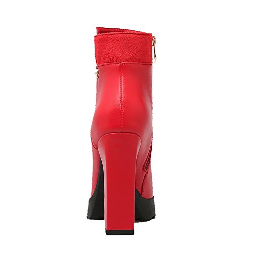 Allhqfashion Women's Pu Low Top Solid Zipper High Heels Boots Red FTVKD1