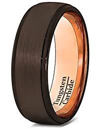 Mens Wedding Band Rare Brown Tungsten Ring Inside Rose Gold Step Edge Comfort Fit