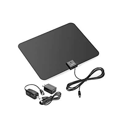 ViewTV Flat HD Digital Indoor Amplified TV Antenna - 60 Miles Range - Detachable Amplifier Signal Booster - 12ft Coax Cable - Black