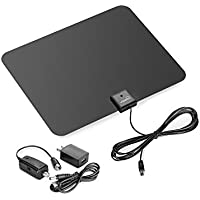 ViewTV 60 Mile Flat HD Digital Indoor Amplified TV Antenna - Detachable Amplifier Signal Booster - 12ft Coax Cable - Black