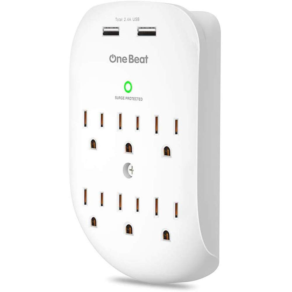 6-Outlet Wall Surge Protector, Multi Plug Outlet Extender, Outlet Wall Adapter with 2 USB Charging Ports 2.4 A, 490 Joules, ETL Certified-White for Home, School, Office by One Beat