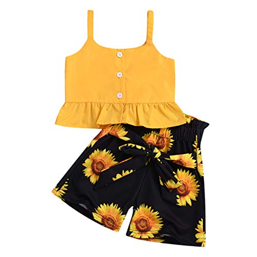 (Toddler Baby Girl Floral Off The Shoulder Strap Top + Pleated Wide Leg Pants Summer Clothes Outfits Set (Yellow Vest top &Sunflower Short Pants, 1-2 Years))