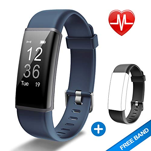 Lintelek Fitness Tracker HR, Activity Tracker with Step Counter, Heart Rate Monitor, Smart Watch with Sleep Monitor, Extra Replacement Band for Men Women Kids (Grey+ Black) (Sleep And Step Tracker)