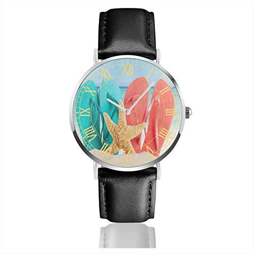 - Summer Sandy Beach Shell Slip Starfish Sand Mens Watches Fashion Simple Minimalist Waterproof Quartz Analog Watch Designer Luxury Business Classic Dress Wrist Watch