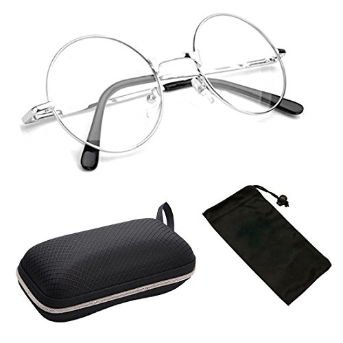 (Harry Potter Silver Frame Round Reading Glasses with Spring Hinged (CLEAR LENSES- No Strength))