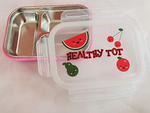 - Healthy Tot Stainless Steel Bento Box For Toddlers, Adults Non toxic, BPA free (Pink)