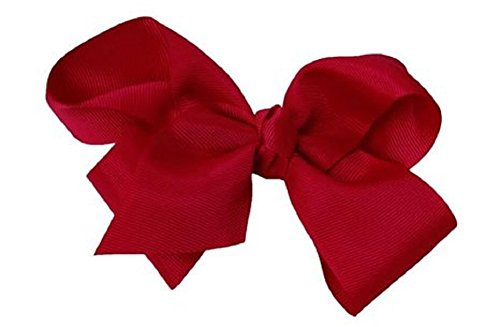 Beautiful Handmade Variety of Bright Colors Grosgrain Ribbon Bows with Alligator Clip (Burgundy Wine)