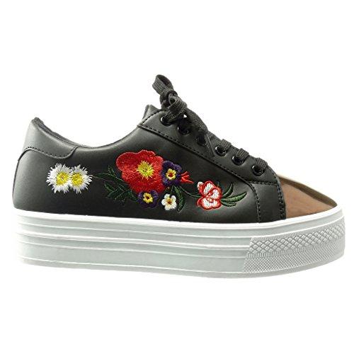Trainers Black cm 4 Material Shoes Flowers Shiny Women's Angkorly Fashion Platform bi Wedge Platform Embroidered twH67SAq