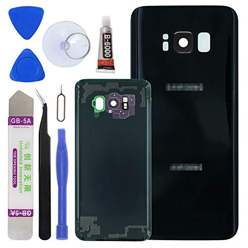 LUVSS [Extra Adhesive] Back Glass Assembly for Samsung Galaxy S8 Plus G955 (All Carriers) Rear Cover Glass Panel Case Housing + Camera & Flash Lens with Opening Tools Kit (Black)