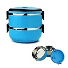 2 Tier Lunch Box Vacuum Seal Lid Blue Bento Tiffin Stainless Steel Insulated by Bento lunch box
