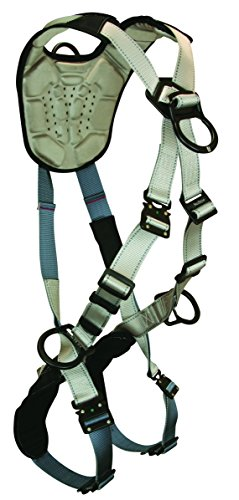 FallTech 7098 FlowTech Climbing Cross-Over Full Body Harness with 4 D-rings, Quick Connect Legs and Chest, FlowScape Shoulder and Leg Pads, Gray/Black, Universal Fit
