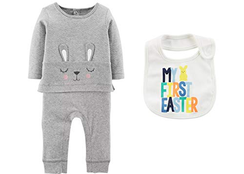 Carter's Baby Girls or Boys Easter Outfit - Bunny Coverall with My First Easter Bib (9 Months) Grey and White