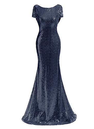Kileyi Women's Long Bateau Ruffle Top Sequined Mermaid Formal Maxi Evening Dress Navy Size 26 ()