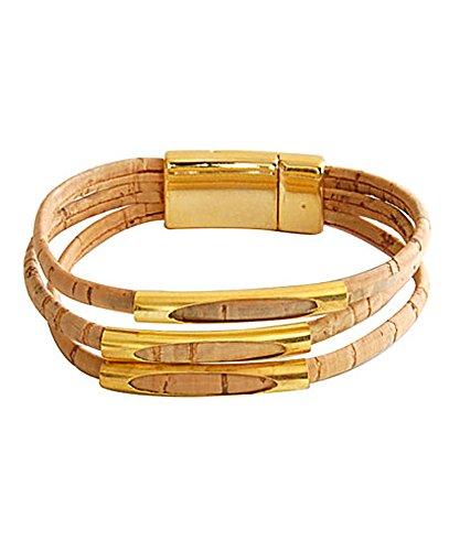 CORX Beyond Leather Designer Handbags Artelusa Cork Three-Strand Gold Tone Bracelet Cord Natural Handmade in Portugal