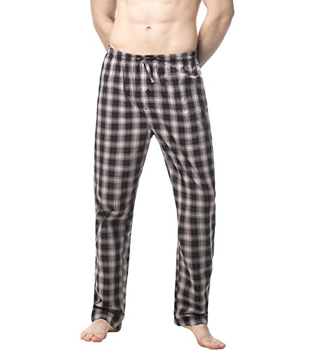 Lapasa Men's Cotton Pajama M38 (X-Large, Black-Grey Plaid)