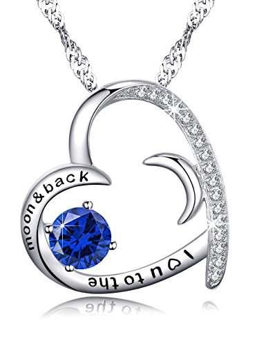 Forever Love Moon and Heart Necklace Gifts for Women I Love you to the moon and back Blue Sapphire Jewelry Birthday Anniversary Gifts for Her Wife Girlfriend Sterling Silver Swarovski by Dorella