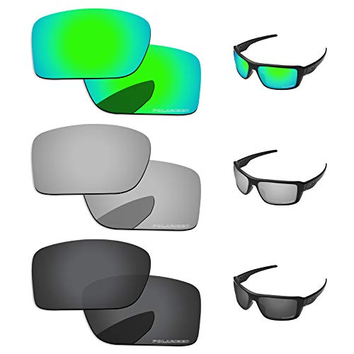 (PapaViva Lenses Replacement for Oakley Double Edge Black Grey & Chrome Silver & Bluish Green)