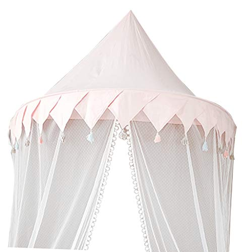 (Fityle Princess Girl Playhouse Kids Bed Canopy with Mosquito Netting Hanging Play Tent Reading Corner -L -Pink )