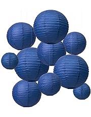 [10 pz Lanterne di Carta] LIHAO Lanterne Rotonde di Carta, Decorazione per Festa Nozze Giardino Matrimonio (Diametro 15/20/25/30 cm)-Blu Scuro