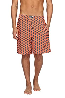 Men's 100% Cotton Knitted Contrasting Hexagon Printed Straight Comfort Fit Shorts Loungewear Sleepwear, Orange