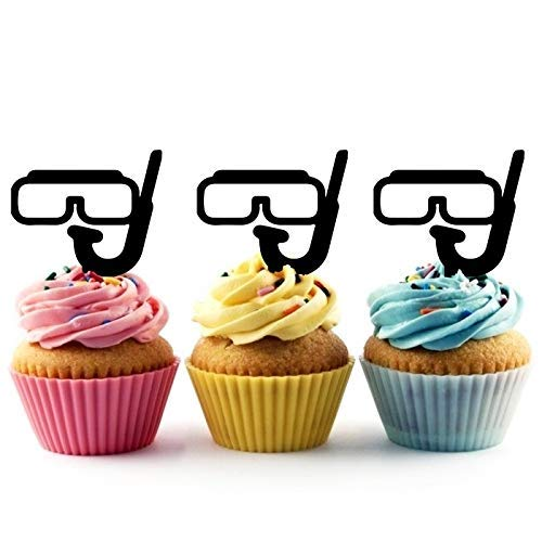 Summer Beach Diving Glasses Snorkel Car Silhouette Acrylic Cupcake Toppers 12 pcs