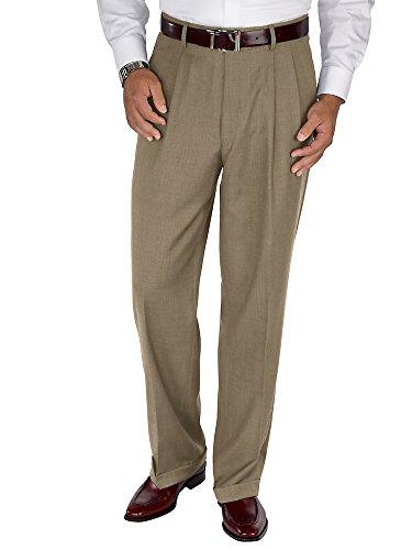 Paul Fredrick Men's Wool Sharkskin Pleated Pants Tan 37